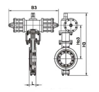 三偏心对夹硬密封气动蝶阀结构图