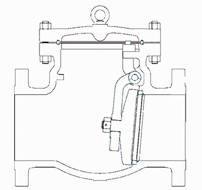 旋启式止回阀结构示意图